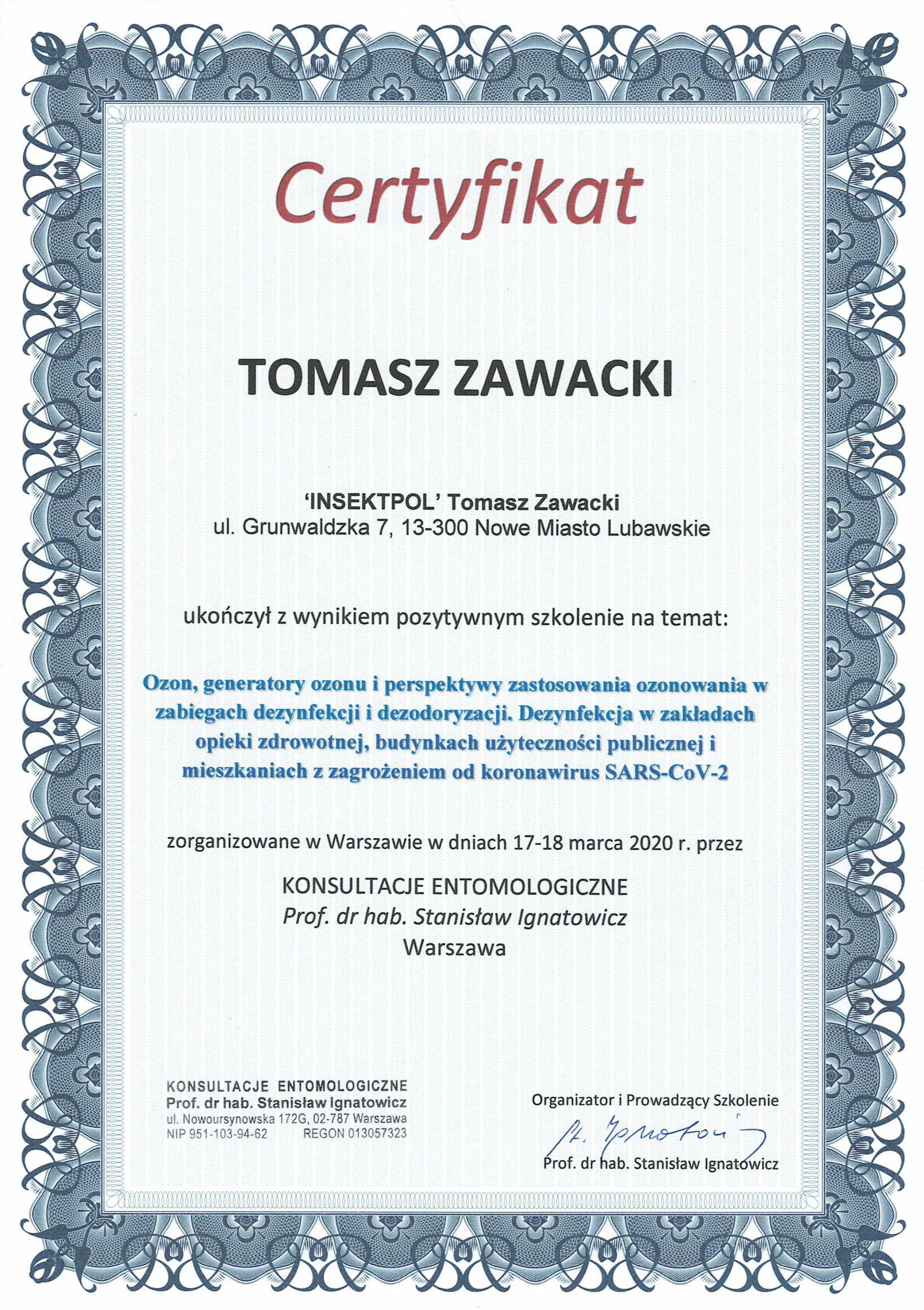 certyfikat ozonowanie koronawirus
